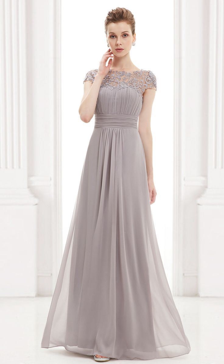 Modest grey lace tulle a line long short sleeve bateau prom dress cap sleeve evening gown with lace grey bridesmaid dressesgrey ombrellifo Image collections