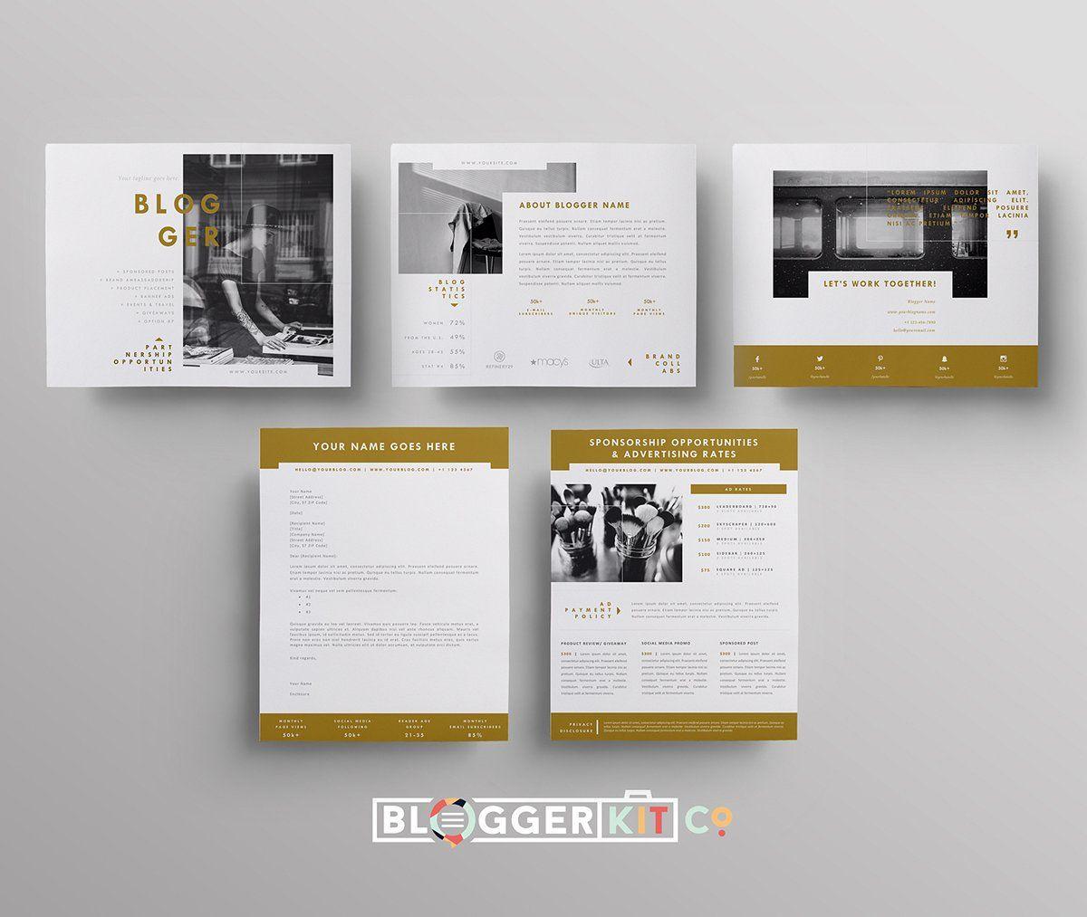 Blog Media Kit Sponsorship 5 Pgs Media Kit Template Blog