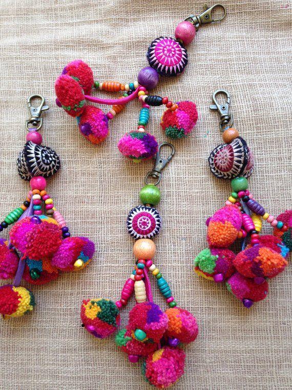 Hmong Handmade Pom pom Beaded cute Charm Keyring Bag Accessory set of 30 #setinstains