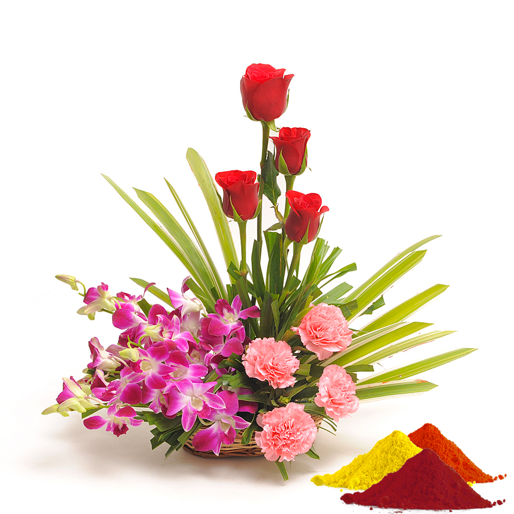Check out our New Product  Inspiration-Holi Holi Special 4 purple orchids, 4 pink carnations and 4 red roses and 2 small packs of Gulal.  Rs.951