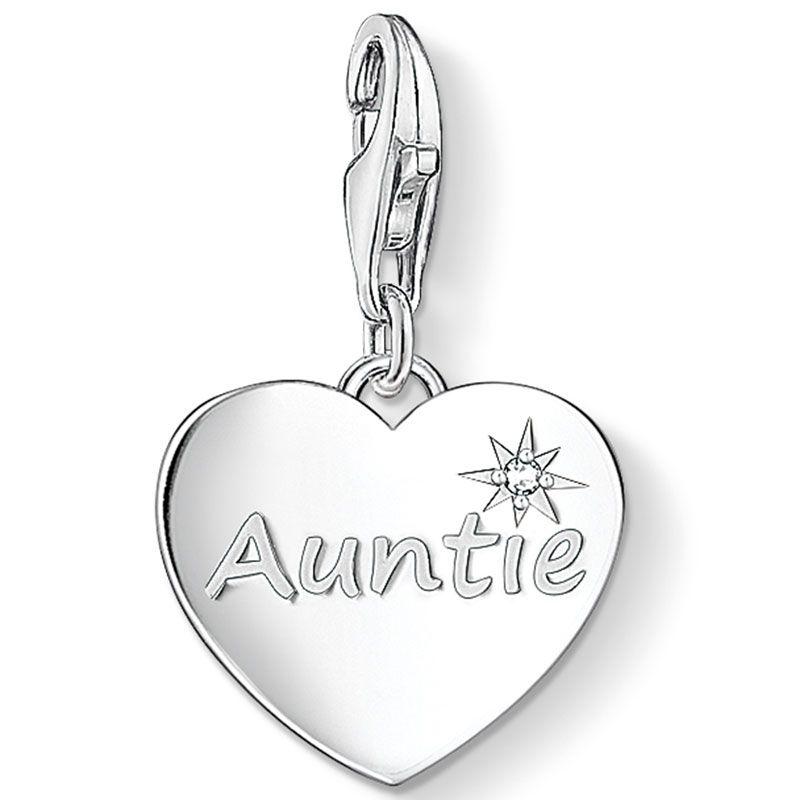 Thomas Sabo Silver Auntie Heart Charm 1271-051-14 #ThomasSabo #CharmClub #Auntie #Silver