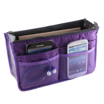 $3.64, Amazon.com - Women Travel Insert Handbag Organiser Purse Large Liner Organizer Tidy Bag - Purple