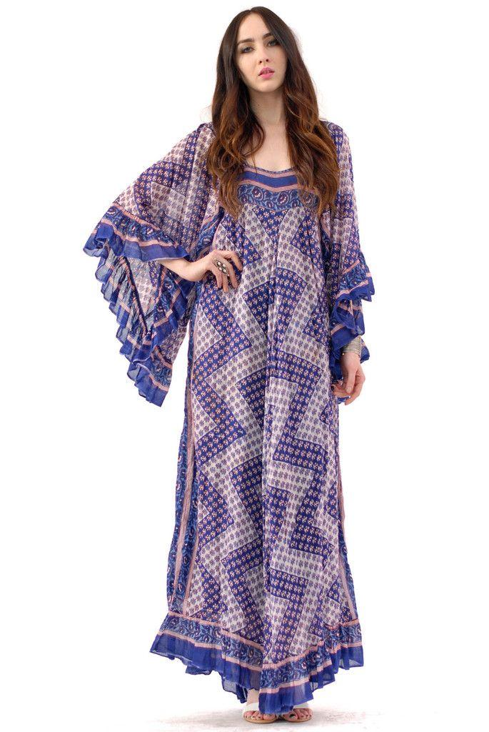 fda4ccf7576 Lavender Rose Butterfly Indian Gauze Dress