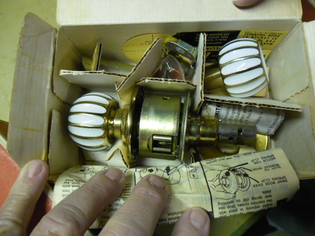 5 vintage schlage door knob sets lotus a40s brass and white ...