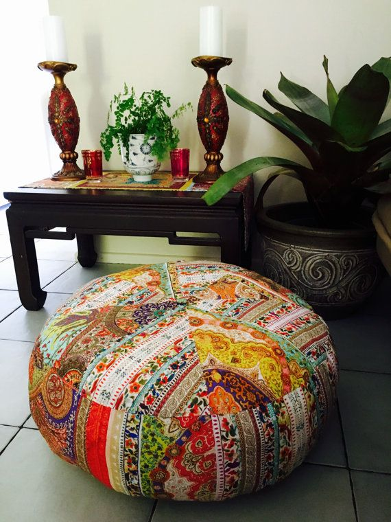 Unfilled 24 Inch Diameter Moroccan Style Pouffe Cover with Tuffet