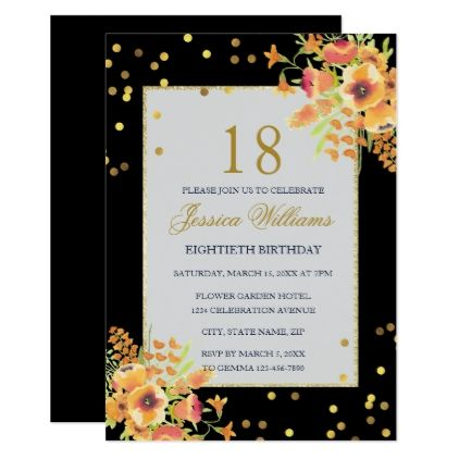 Romantic Confetti Corner Bouquets 18th Birthday Card Confetti