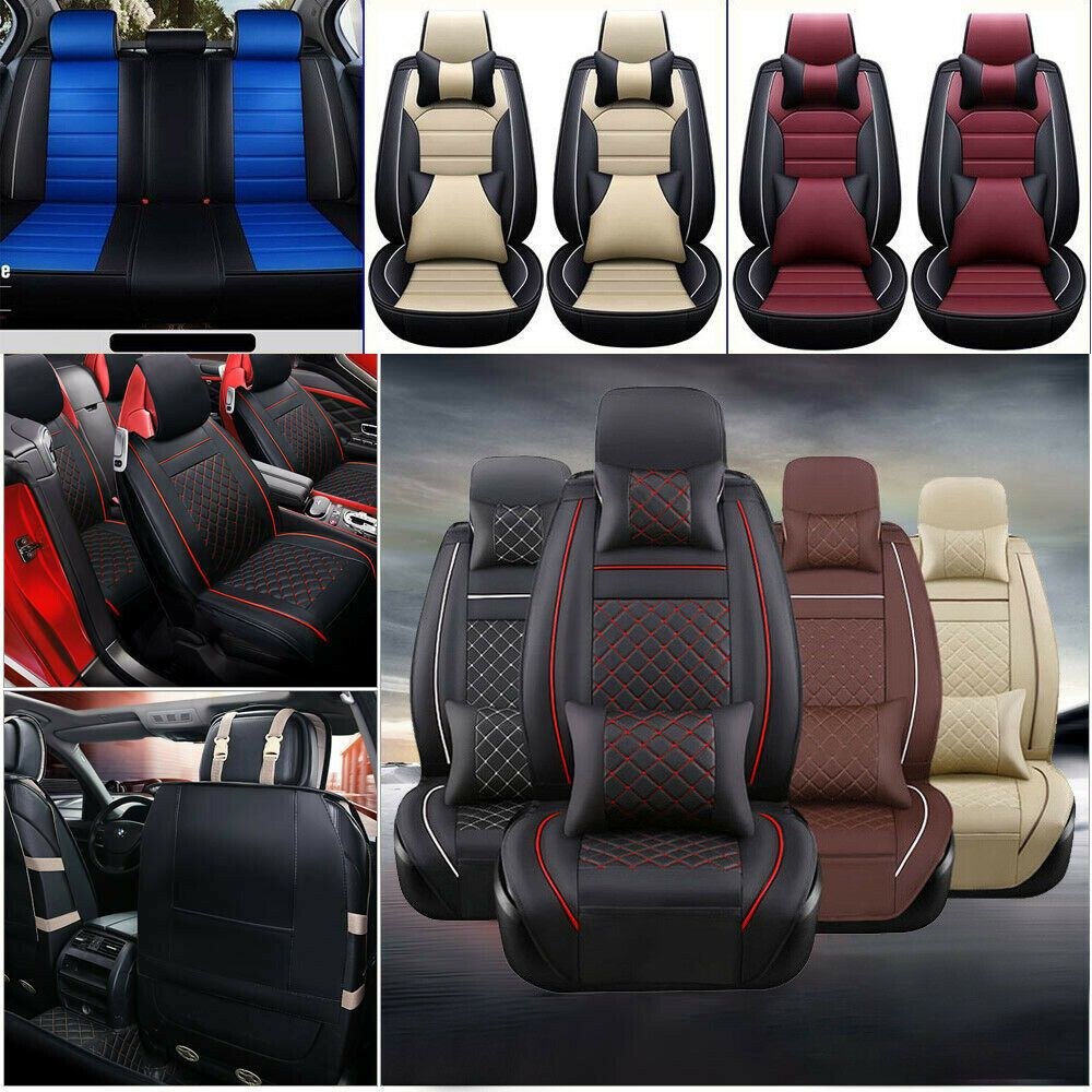 5-Seat Car PU Leather Seat Covers Cushion Front+Rear For Honda Accord Civic CRV