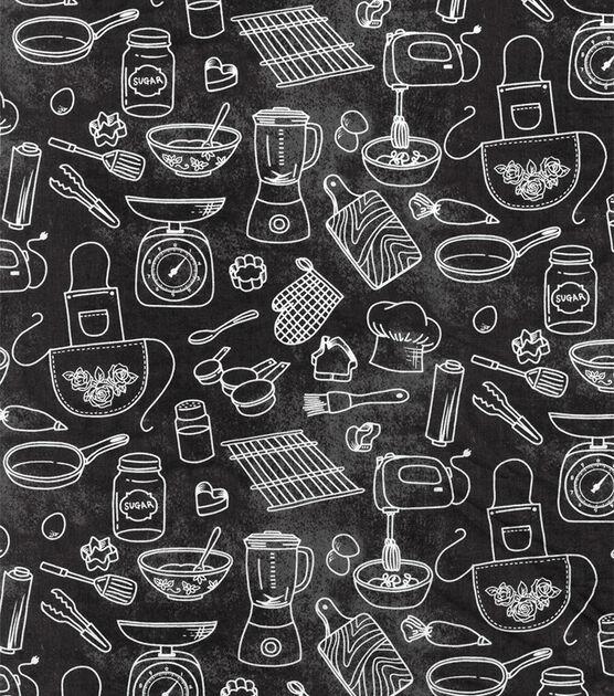 Novelty Cotton Fabric Kitchen Gadgets Chalk Outline Joann Kitchen Fabric Chalk Fabric