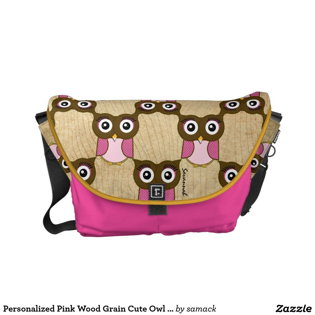 Personalized Pink Wood Grain Cute Owl Pattern Messenger Bag. Regalos, Gifts. #bolso #bag #DiaDeLasMadres #MothersDay