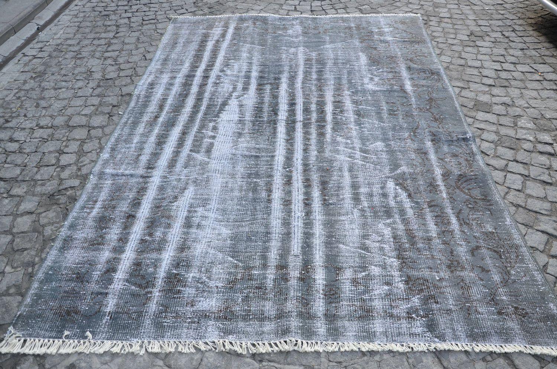 Grey oushak Rug, Turkish ushak Carpet, Handmade Gray Rug, Overdyed Rugs, Size is (286 cm x 191 cm)   9,3 feet x 6,2 feet model:656 by OushakRugs on Etsy