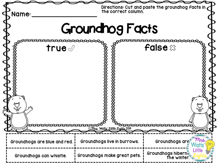 Groundhog Day Activities - Groundhog Facts $
