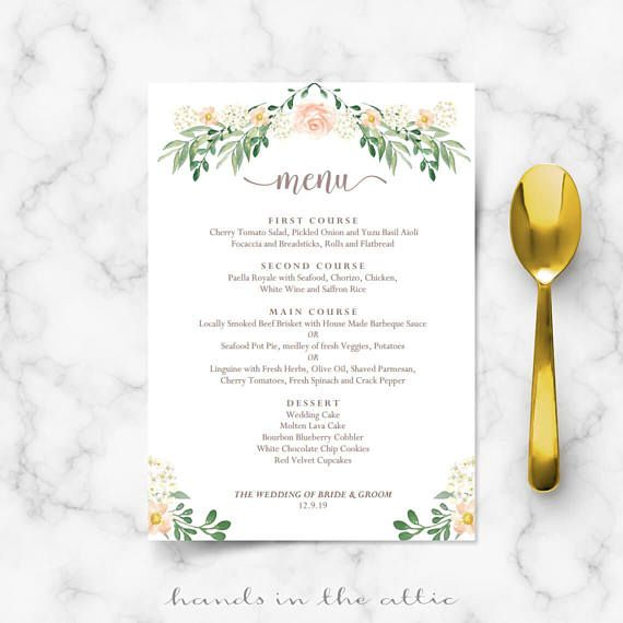 Rustic Wedding Menu Rehearsal Dinner Template Sit Down Menus Home Printable Card Templates Fl Editable Digital