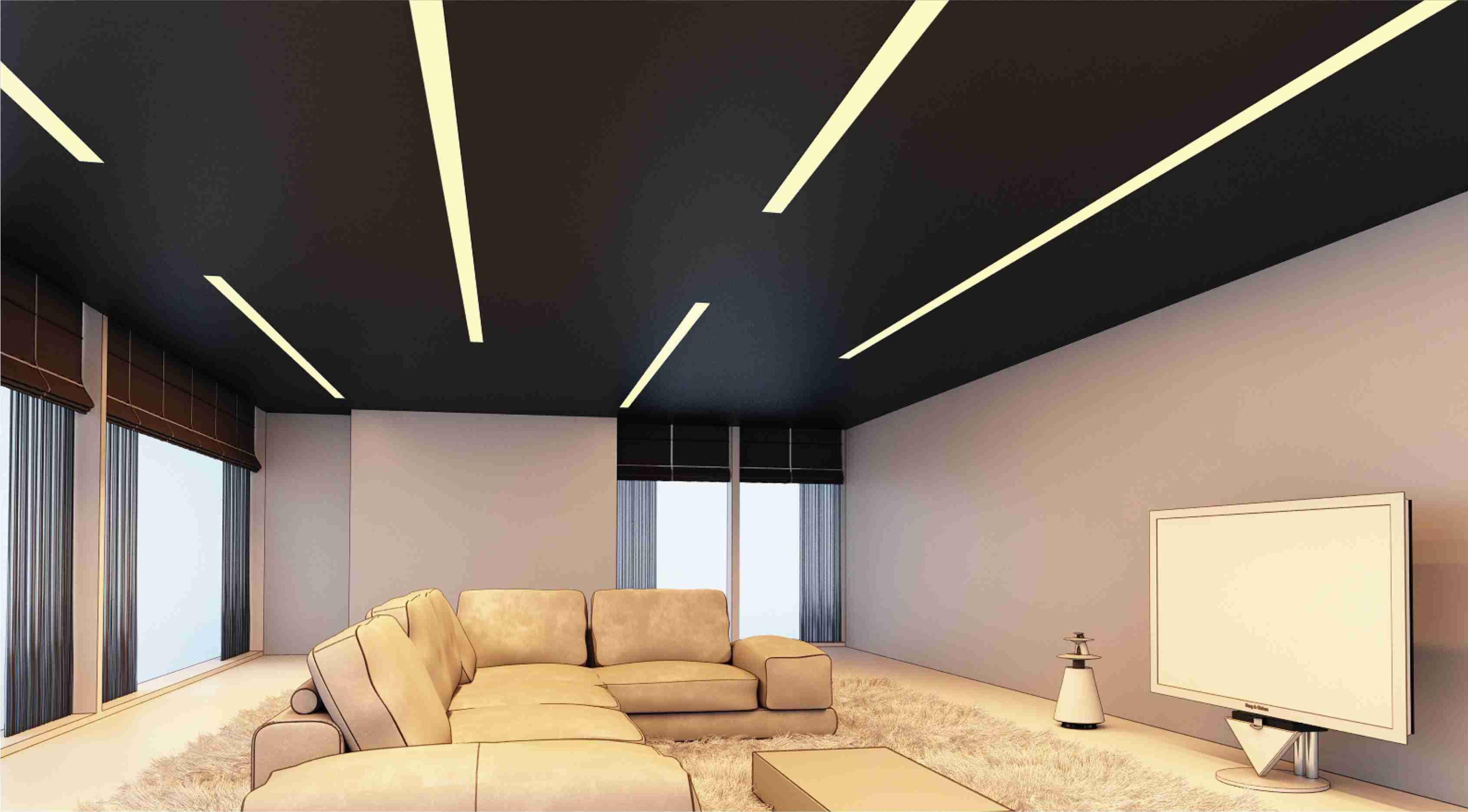 Iluminaci n en sal n con perfiles empotrados y tira de - Iluminacion led para el hogar ...