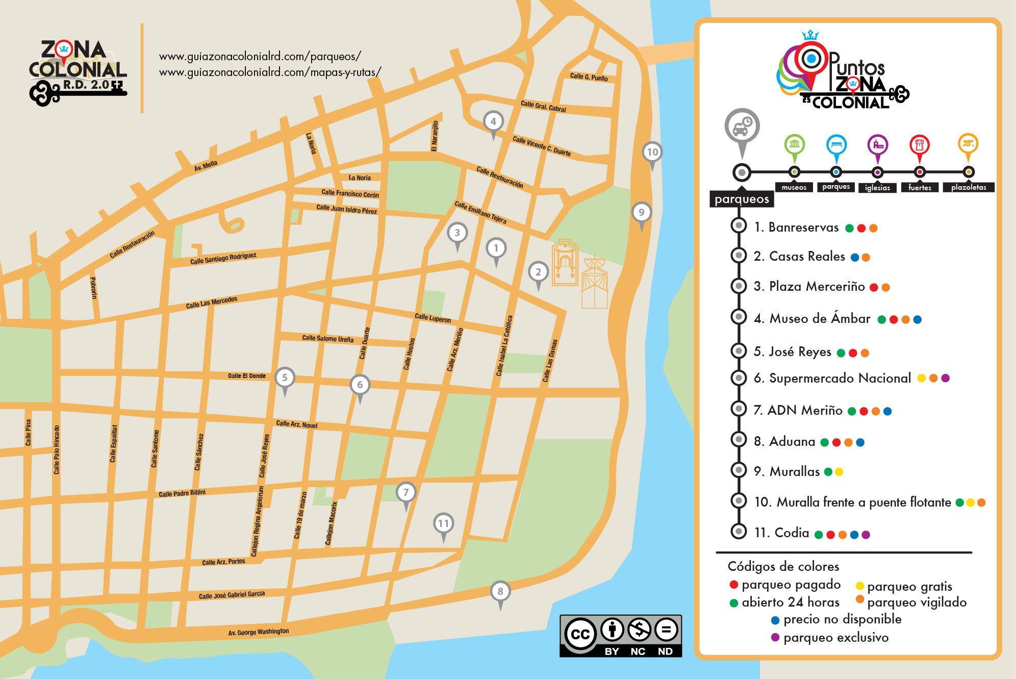 Mapa de los parqueos de la Zona Colonial ms informacin en nuestra
