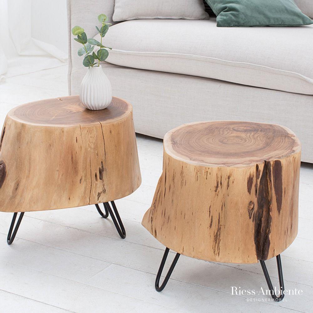 Massiver Beistelltisch Goa 50cm Akazie Baumstamm Hairpin Leg Riess Ambiente De In 2020 Naturtisch Tisch Und Wohnzimmertische