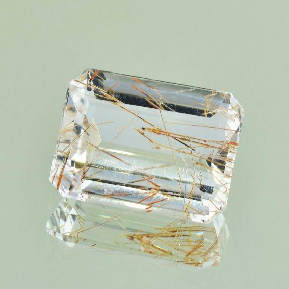 Rutilated Quartz, 20,42 ct., octagon faceted, colorless | carat-online.at diamonds & gemstones