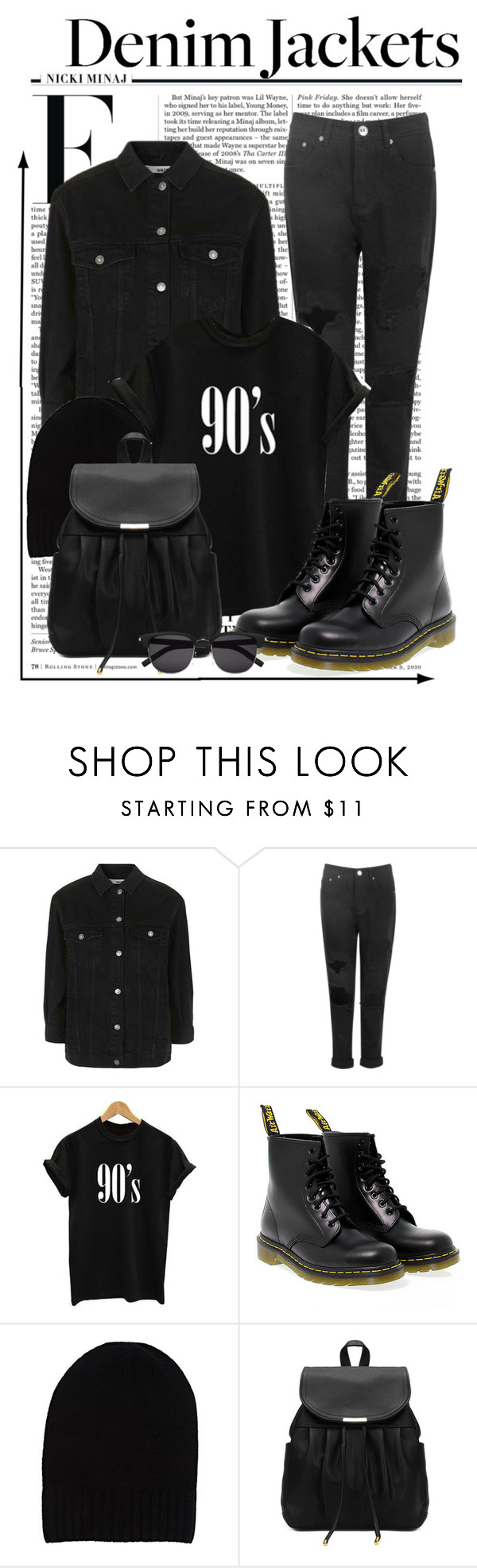 """The Denim Jacket #2"" by sassycici ❤ liked on Polyvore featuring Nicki Minaj, Topshop, Boohoo, Dr. Martens, Barneys New York and Yves Saint Laurent"