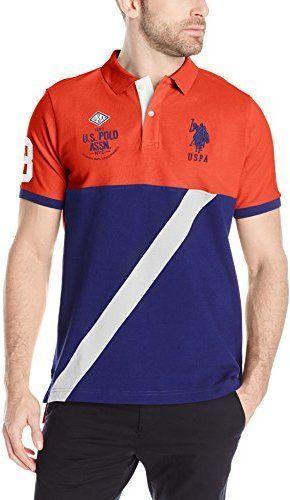 U S Polo Assn Men S Color Block Diagonal Stripe Pique Polo Shirt Pique Polo Shirt Mens Polo Shirts Polo