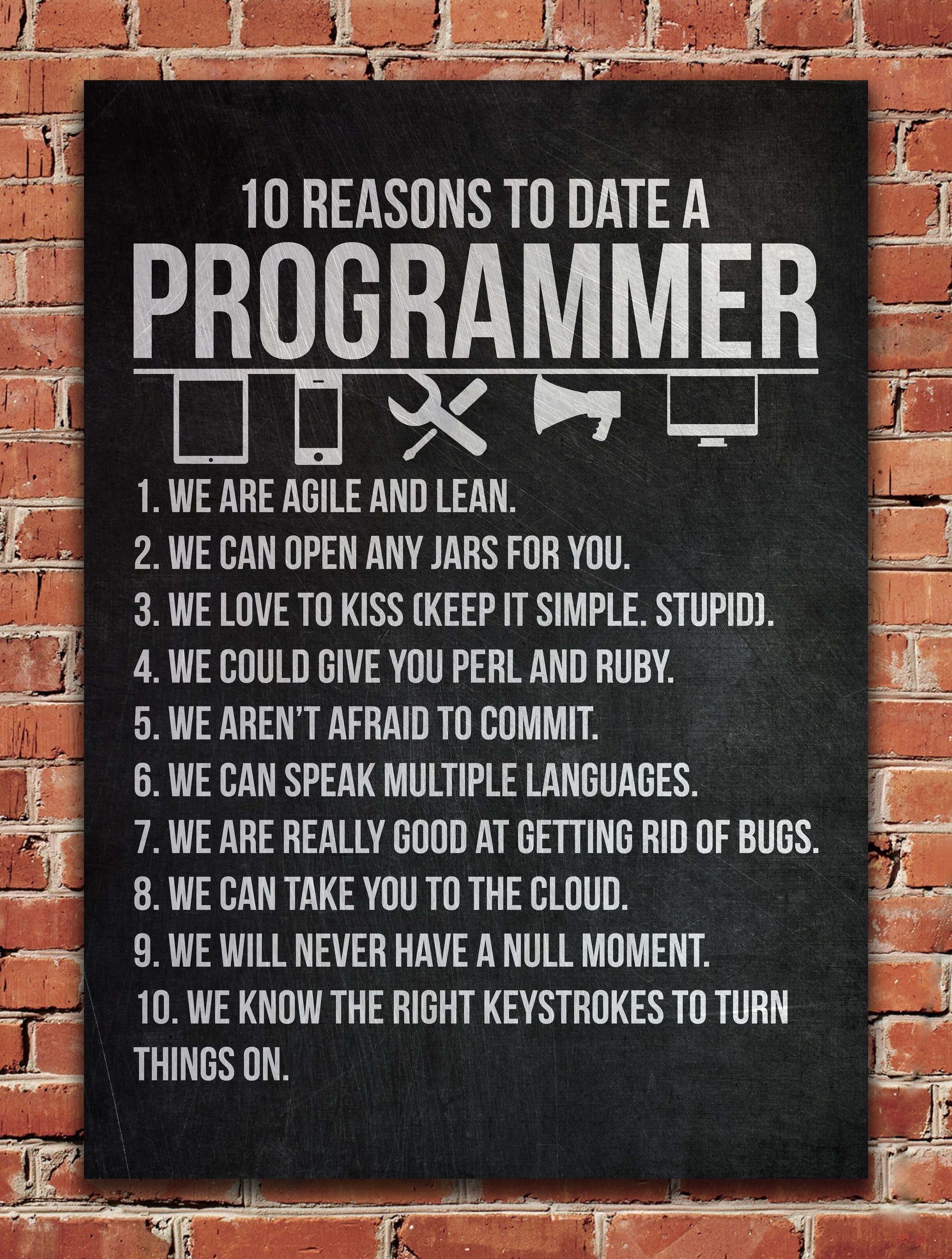 Date A Programmer Metal Poster Posterworld Displate Programmer Humor Programmer Quote Programming Humor