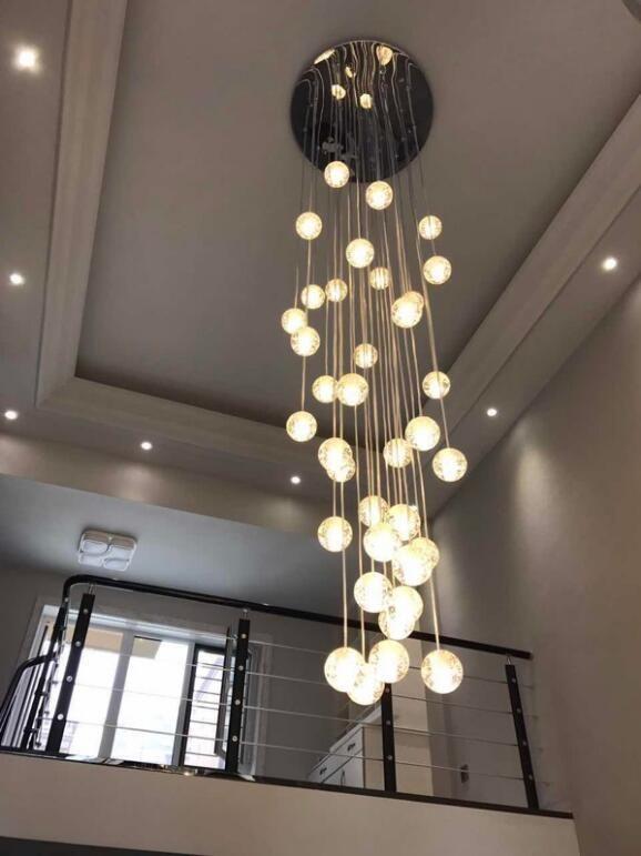 Pendelleuchte Modern Kristall Galvanisiert Transparent Kugel Treppenhaus #pendantlighting