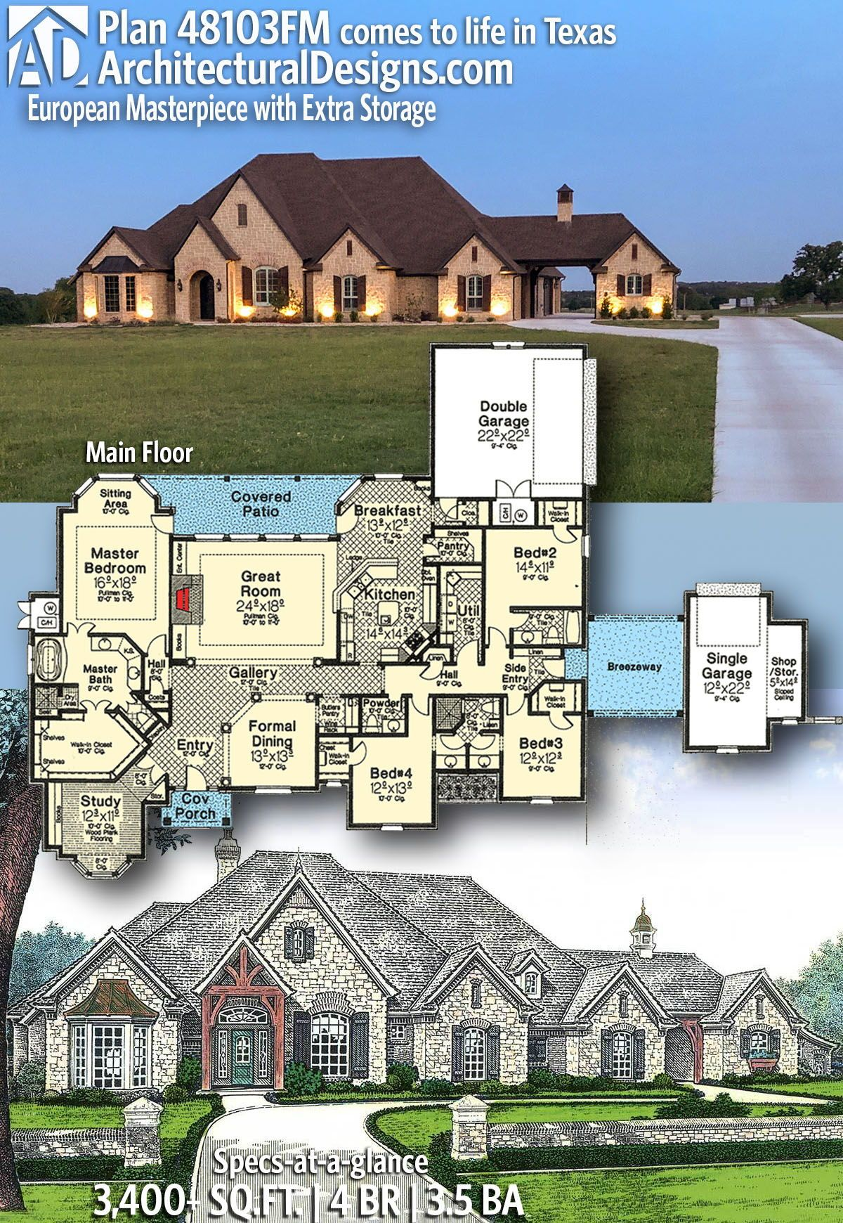 Plan 48103fm European Masterpiece With Extra Storage Family House Plans House Blueprints New House Plans