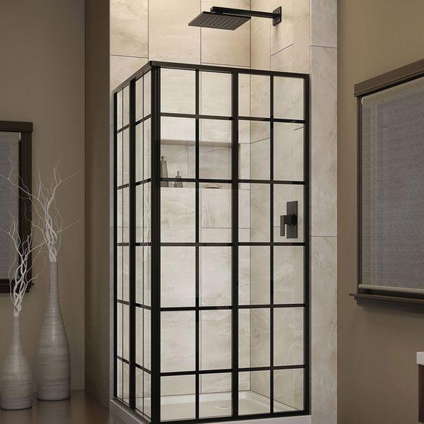 DreamLine French Corner 34 1 2 In W X 34 1 2 In D X 72 In H Sliding Shower