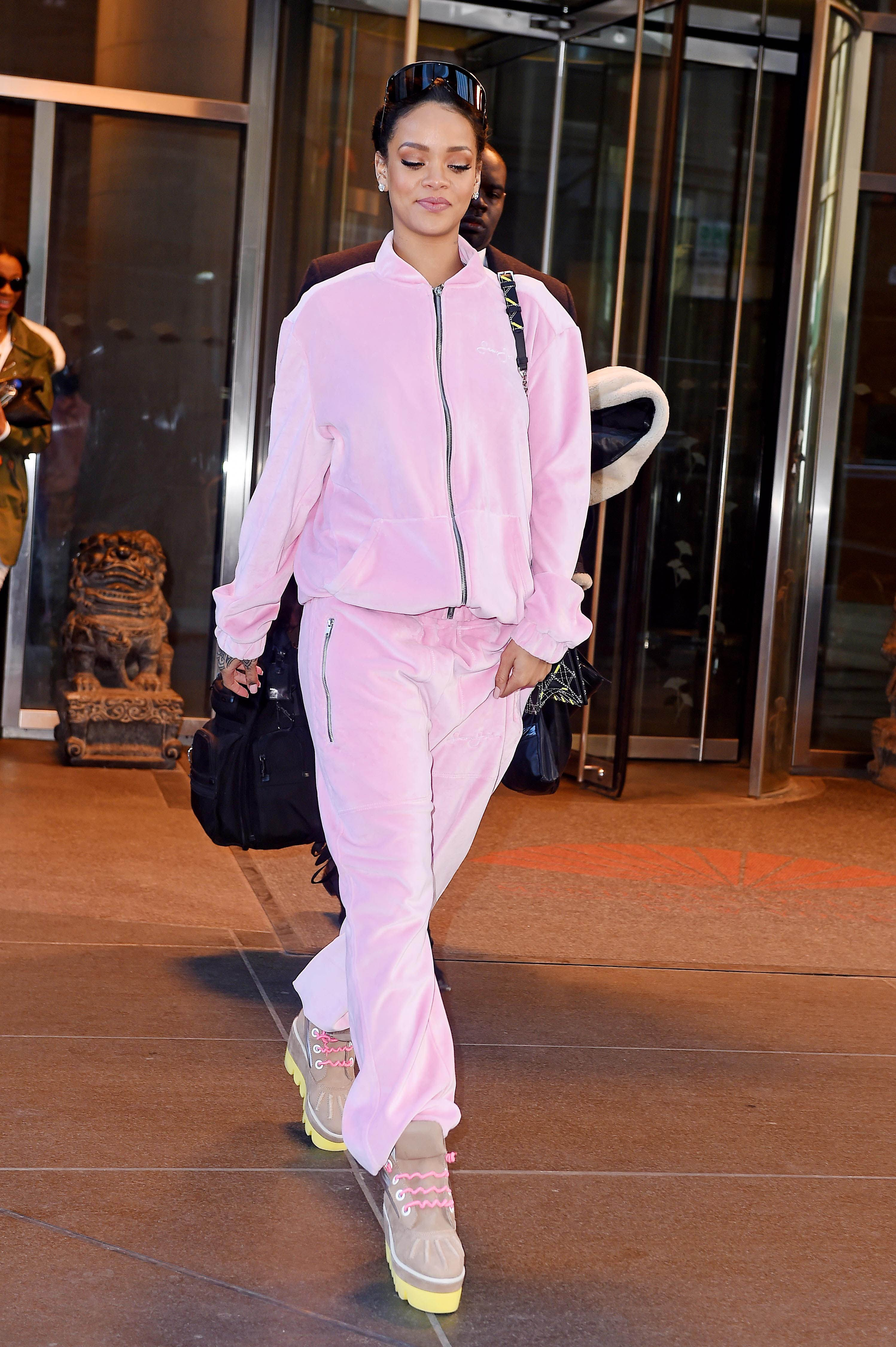 62a72b5cdb6 Continuing the pink theme - if you thought velour tracksuits were a thing  of the past, think again. - Cosmopolitan.co.uk. Photos of Rihanna's ...