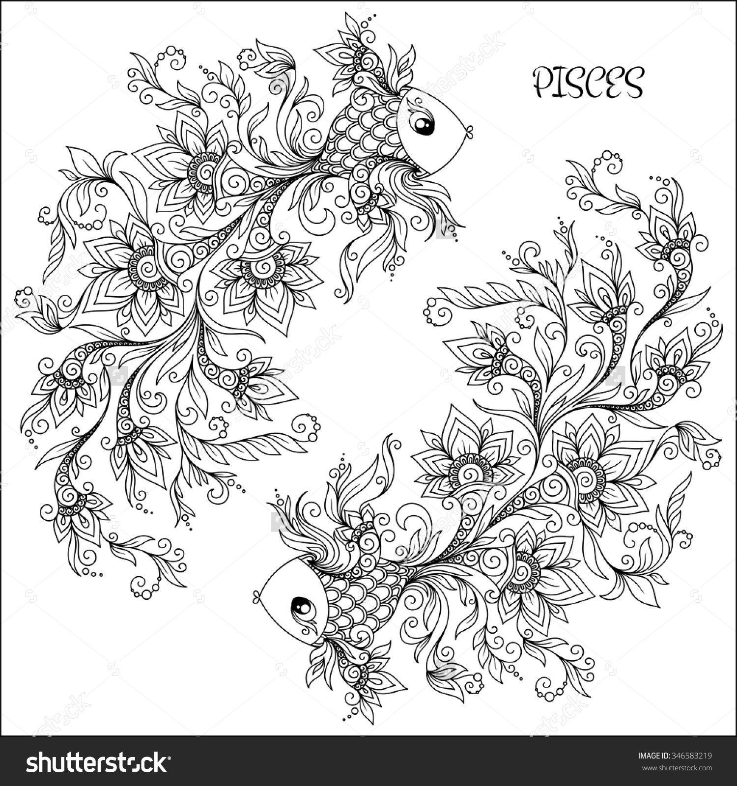 Pattern For Coloring Book Hand Drawn Line Flowers Art Of Zodiac
