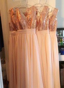 V Neck Sequin Rose Gold Floor Length Bridesmaid Dress