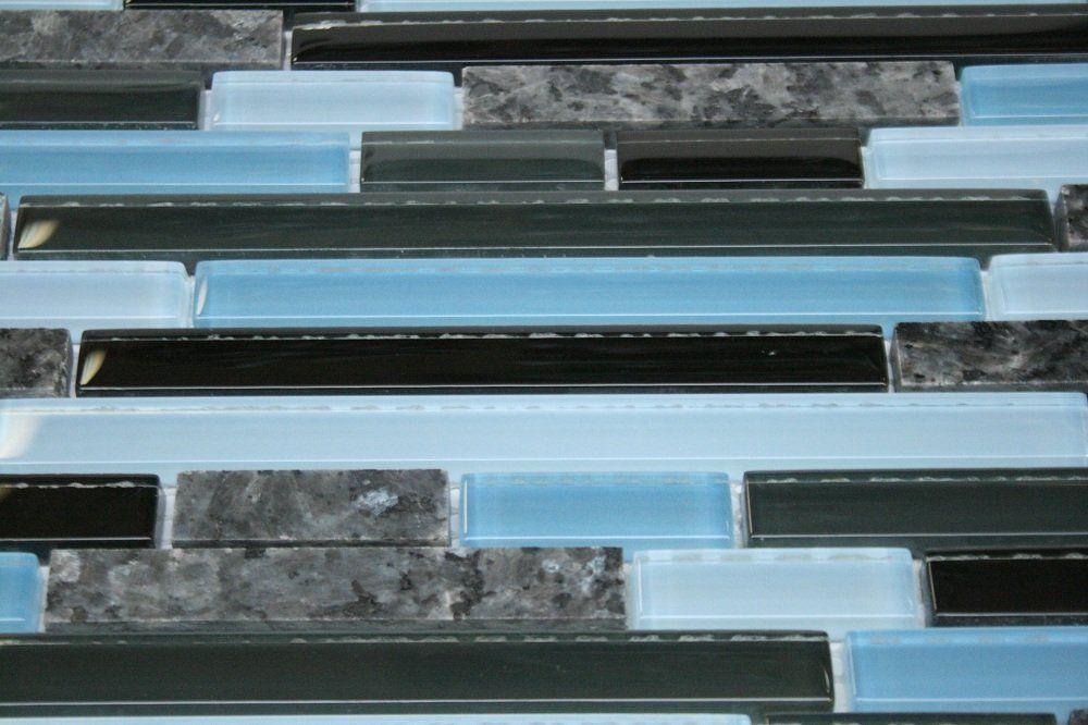 Random Brick Pattern Glass Tile Amp Granite Tile Color Black Gray Amp Blue Glass With Blue Pearl Gran Blue Pearl Granite Glass Mosaic Tiles Mosaic Glass