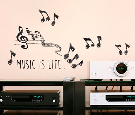 Vinilo Frases Music Is Life Leroy Merlin Pladur