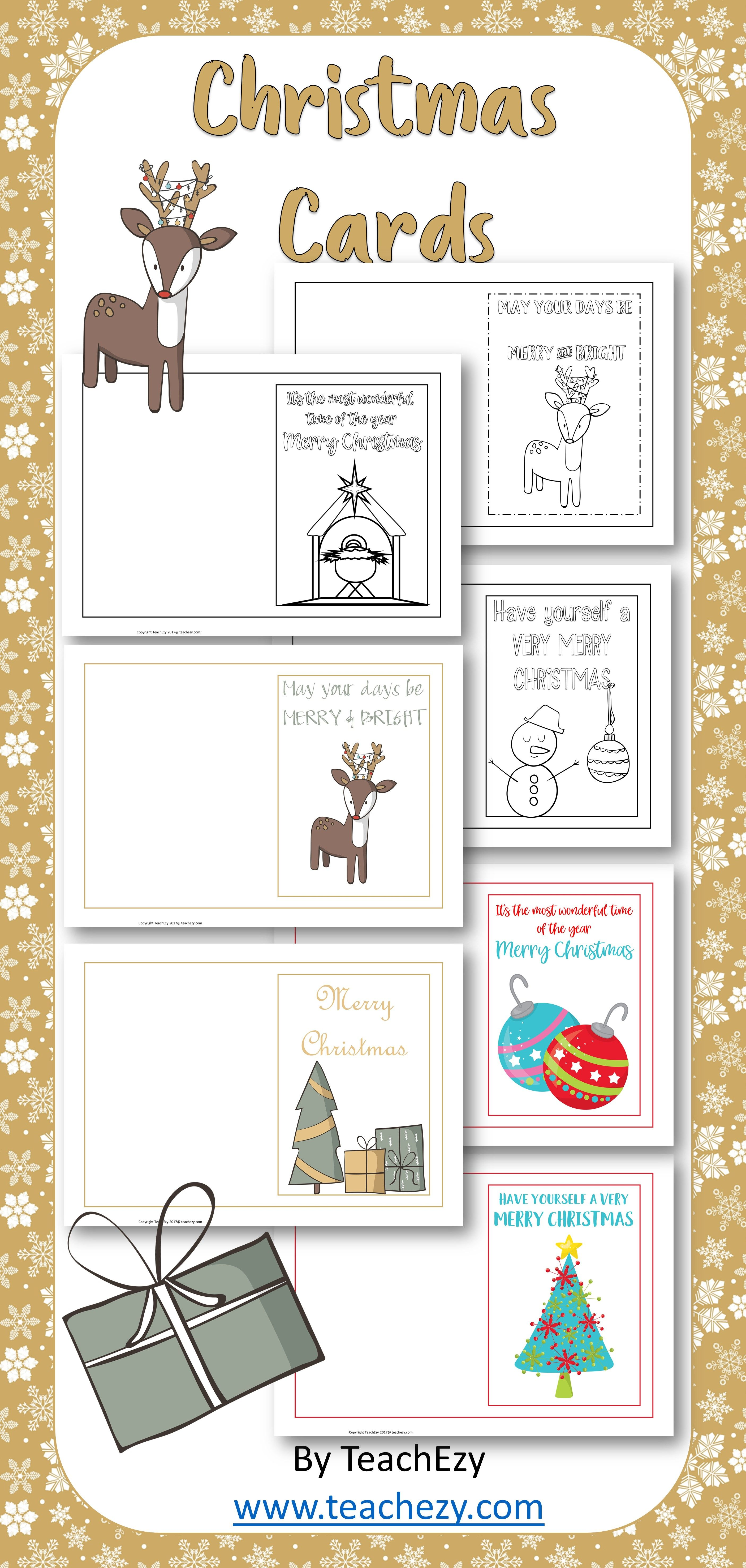 Christmas Cards For Young Children Colour And Black And