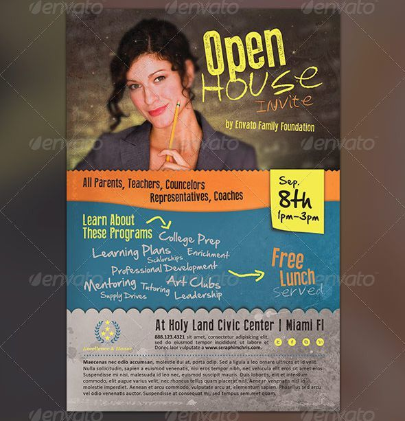 34 Spectacular Open House Flyers  PSD \ Word Templates - flyer format word
