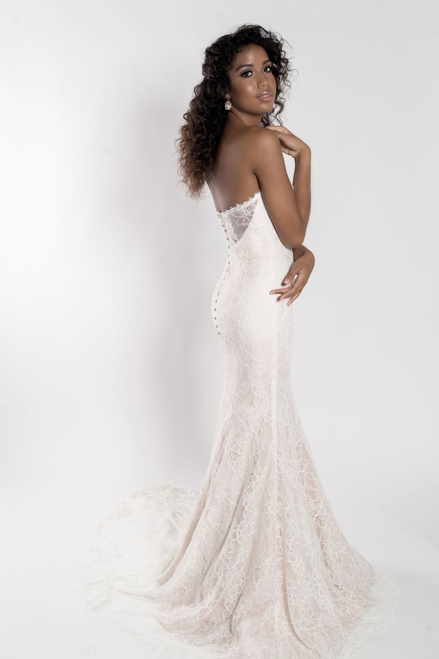 Blush Lace Mermaid Trumpet Wedding Dress Orlando Bridal Boutique