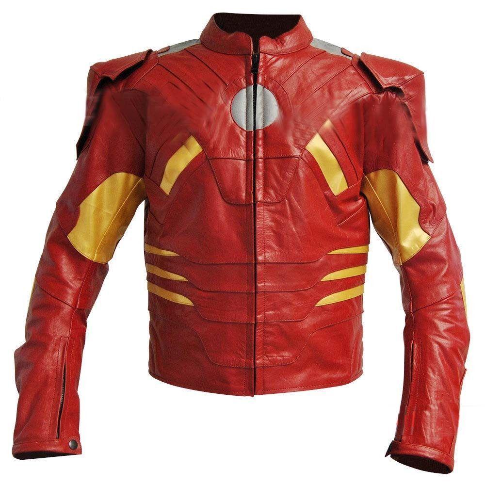 Iron Man Mark Vii Costume Leather Jacket Marvel The Avengers Iron Man Mark 7 Jacket Ironman Movies Jacke Real Leather Jacket Leather Jacket Leather Outfit