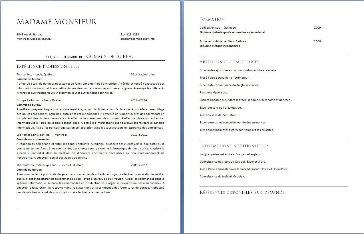 Les 3 Methodes Principales Pour Faire Un Cv Quebecois Exemple De Cv Exemple Cv Cv Cadre Modele De Cv Professionnel