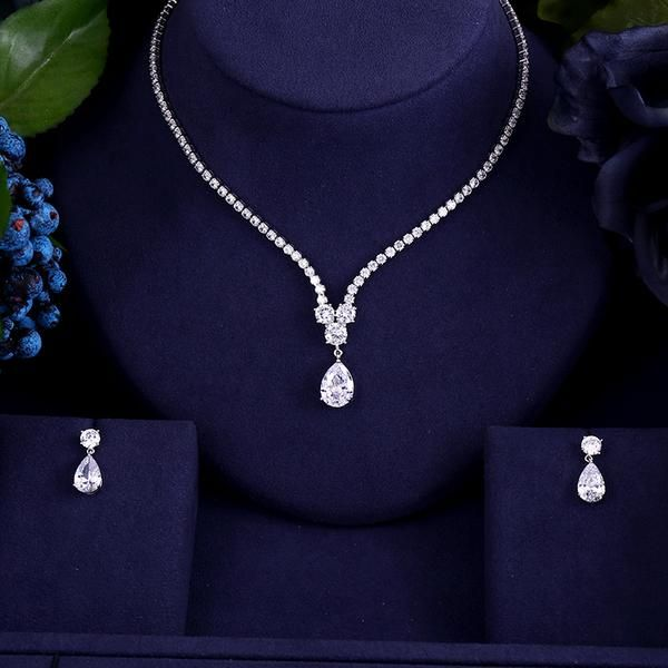 Photo of New design luxury AAA zircon water drop shape necklace pendant Set for women,high quality party/jewelry wedding