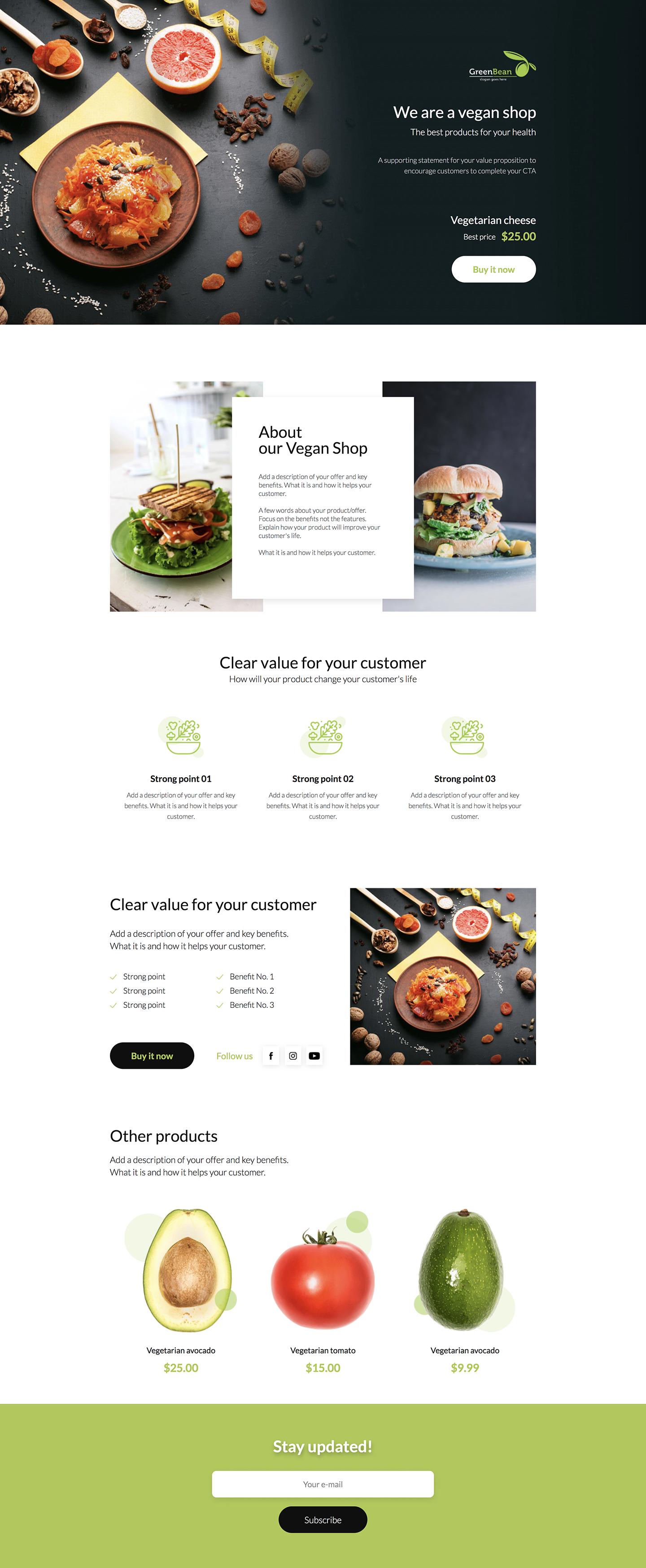 Vegan Product Landing Page Template Food Web Design Web Development Design Web Layout Design