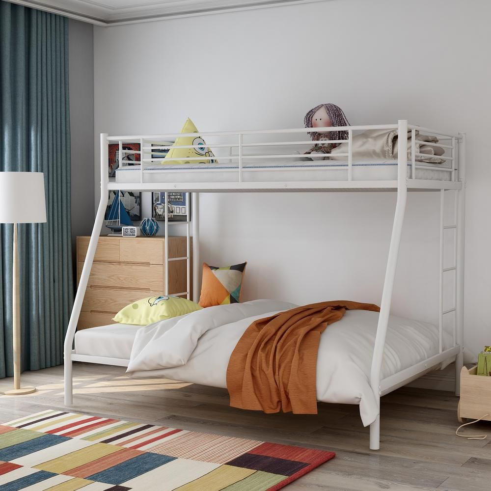 Harper Bright Designs White Twin Over Full Solid Metal Bunk Bed