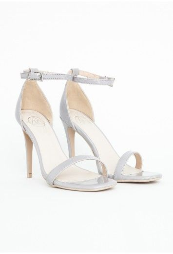 321bf15f832d Clara Leather Strappy Sandals In Grey - Footwear - Sandals - Missguided