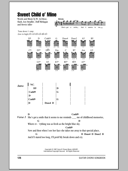 Sweet Child O\' Mine by Guns N\' Roses - Guitar Chords/Lyrics - Guitar ...