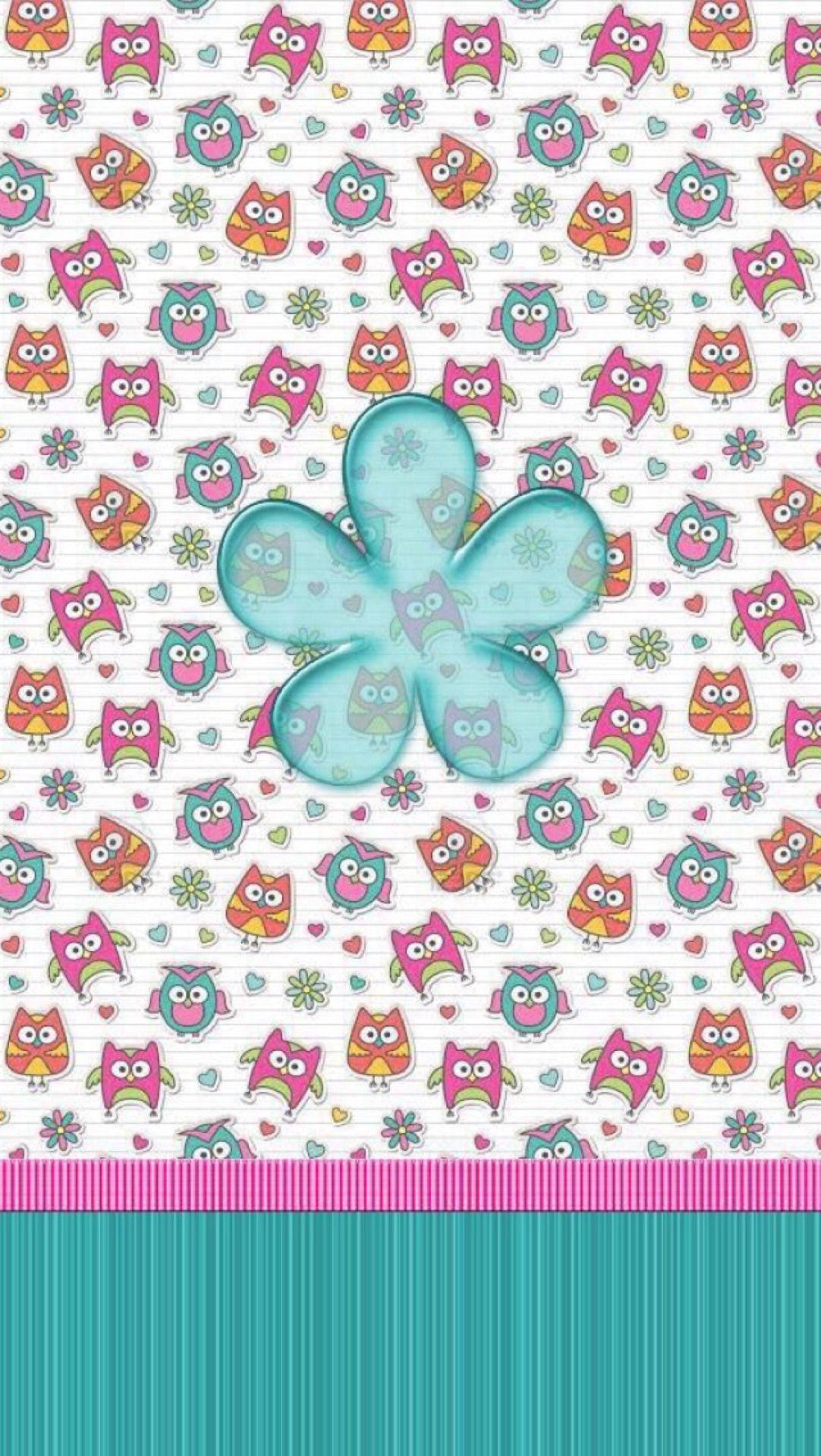 Cute owls owl wallpaper blue flower wallpaper