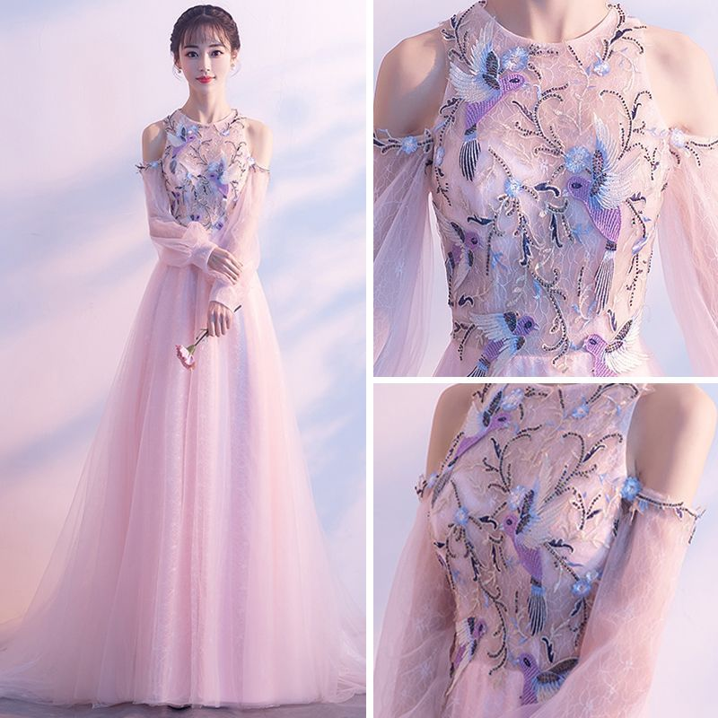 Elegant Pearl Pink Evening Dresses 2018 A-Line / Princess Scoop Neck Strapless Long Sleeve Appliques Lace Beading Rhinestone Chapel Train Ruffle Backless Formal Dresses