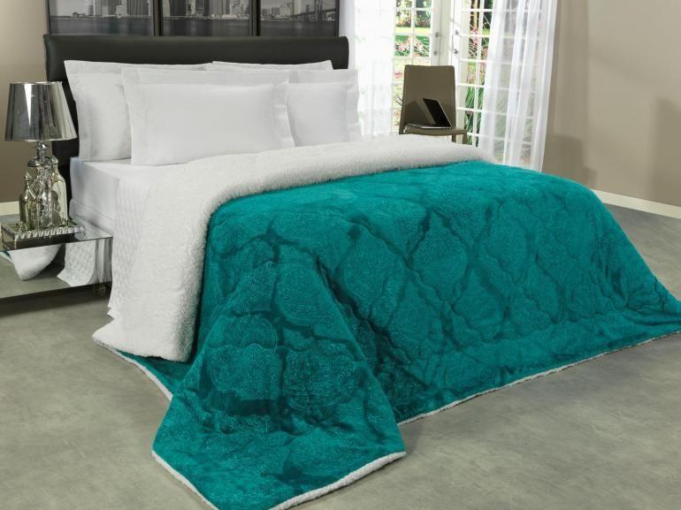 bf92a3e4e8 Edredom Queen Pele de Carneiro e Plush - Sherpa Allure Azul Porto - Dui  Design