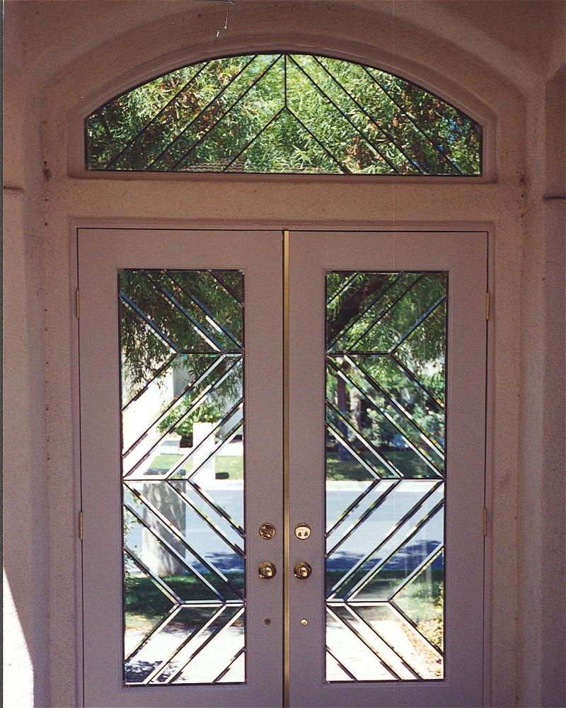 Beveled Glass Entry Window Door Contemporary