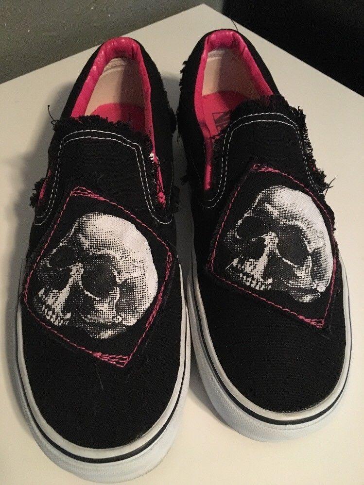 3d3bacff8d RARE🔥 VANS Slip On Skull Black White Pink Shoes Sz 10 Men s - 11.5 Women s   VANS  FashionSneakers