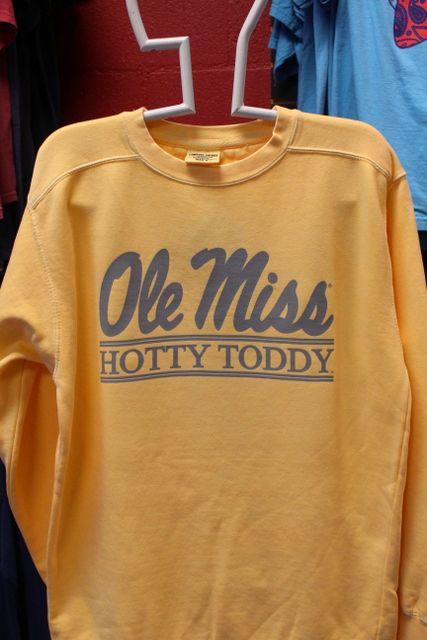 Ole Miss Script Hotty Toddy Bar Crew Sweatshirt Comfort
