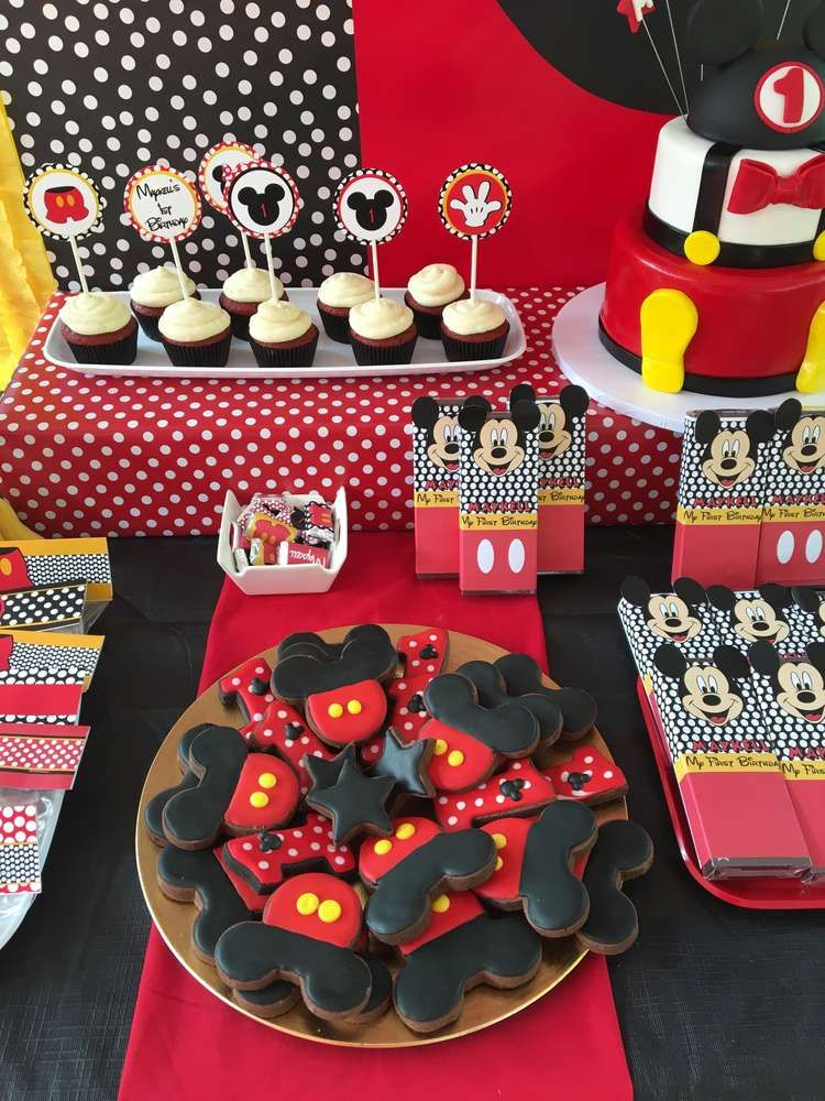 Fun cookies at a Mickey Mouse birthday party! See more