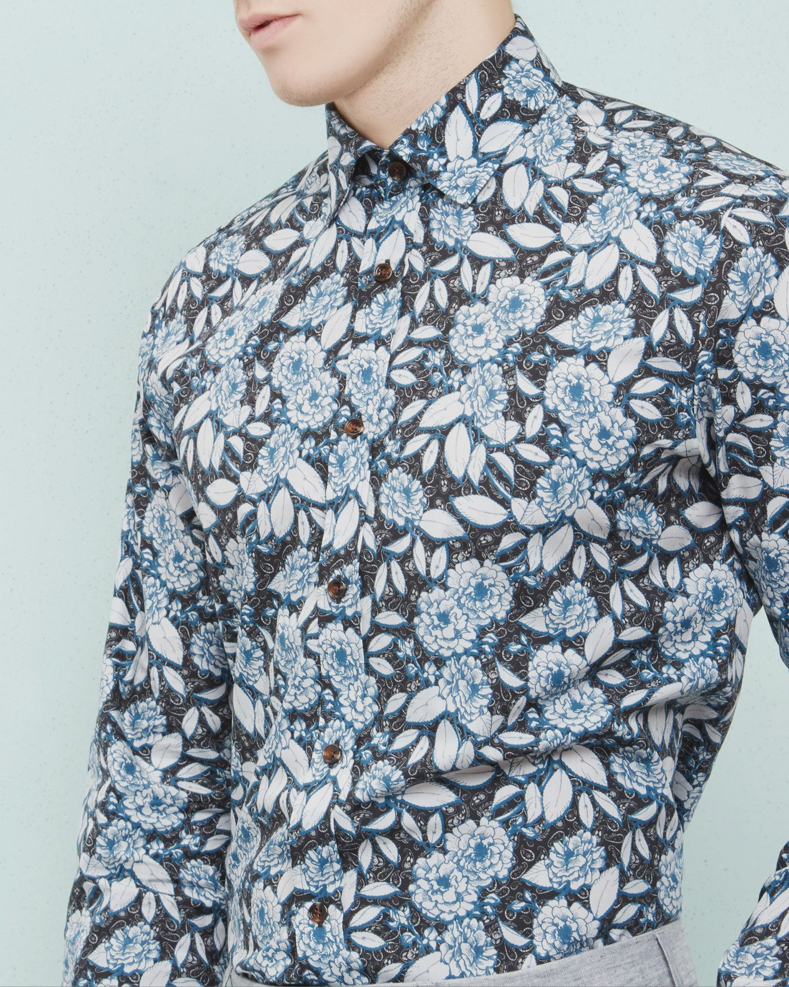 Floral Paisley Cotton Shirt Navy Shirts Ted Baker Uk S18