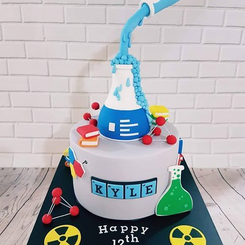 Fine Science Themed Birthday Cake And Everything Here Is Edible Funny Birthday Cards Online Elaedamsfinfo
